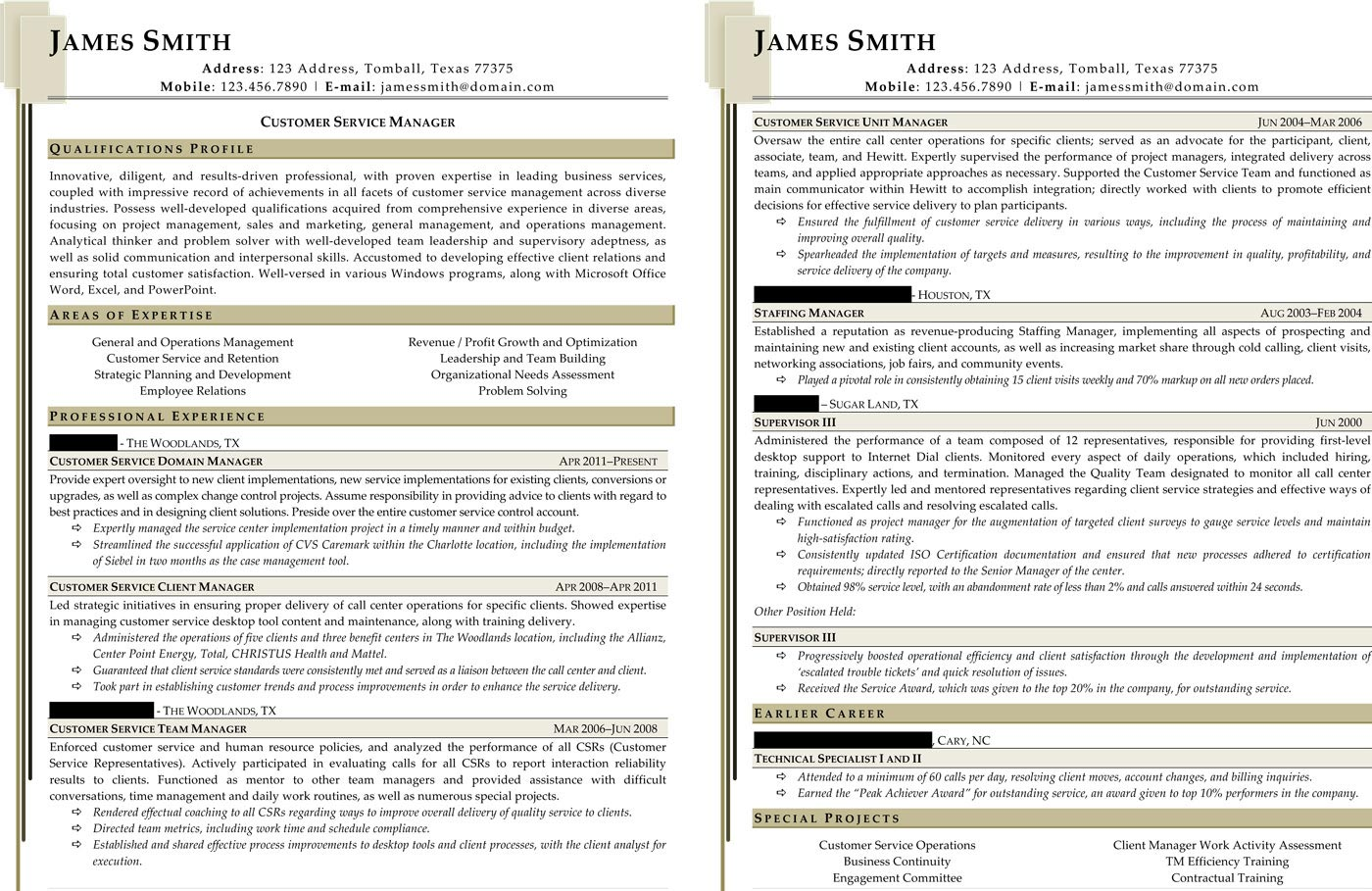 Customer Service Manager Resume  Customer Service Manager Resume Sample
