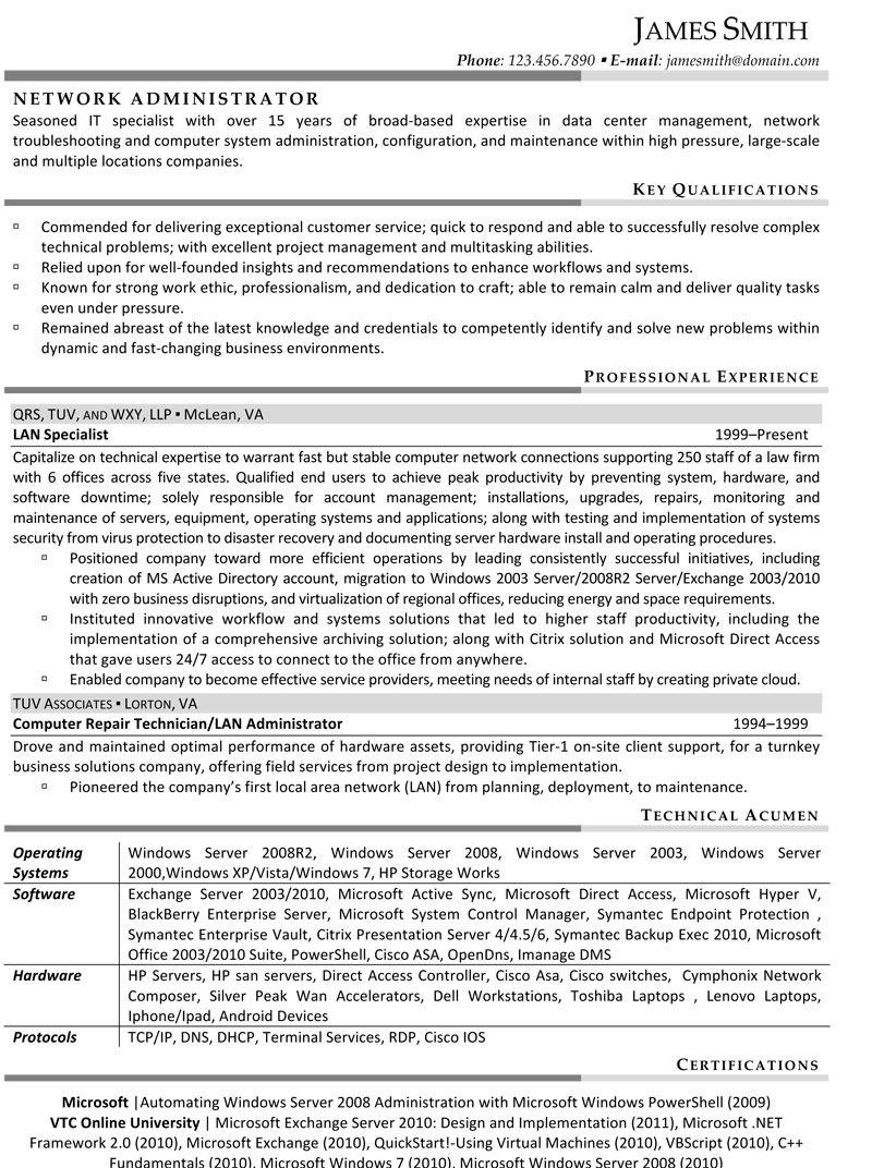 Network Administrator Resume  Hr Resumes