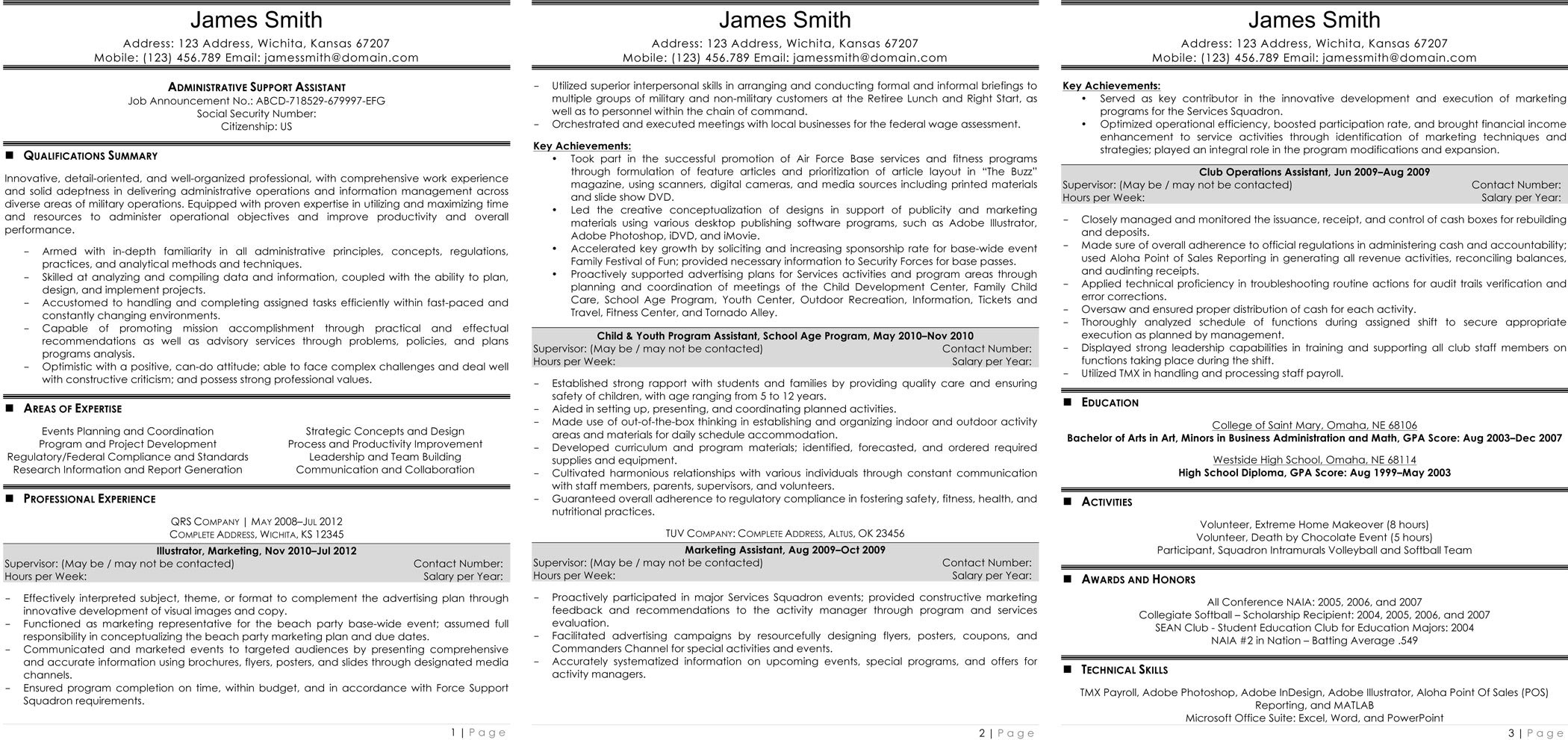 sample civilian and federal resumes