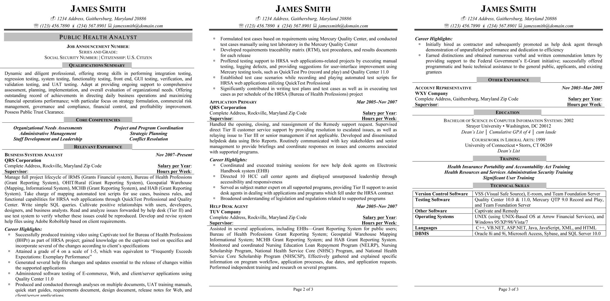 public health analyst resume federal resume sample