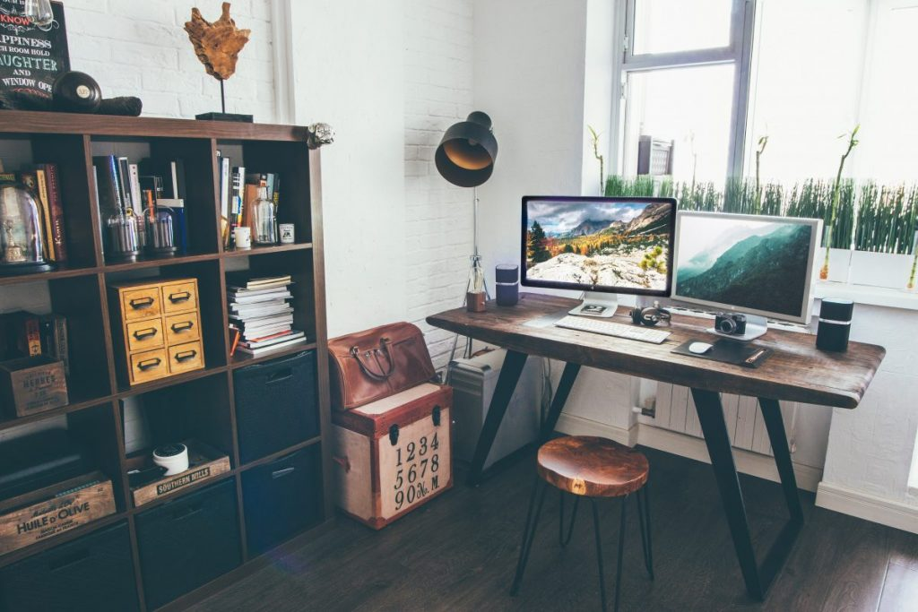 work from home with your desktop in a cozy room