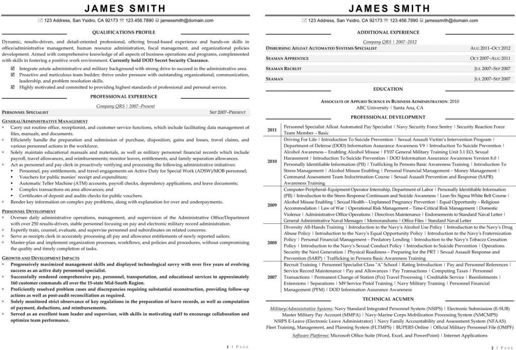 skills section resume valley civilian resume template
