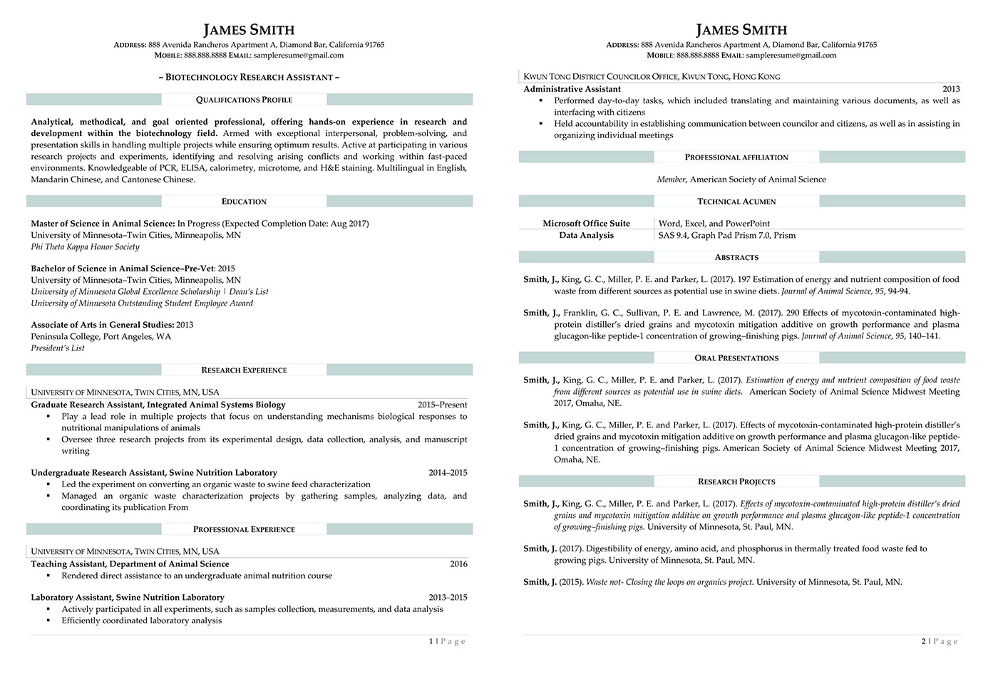 biotechnology research assistant resume - Research Assistant Sample Resume