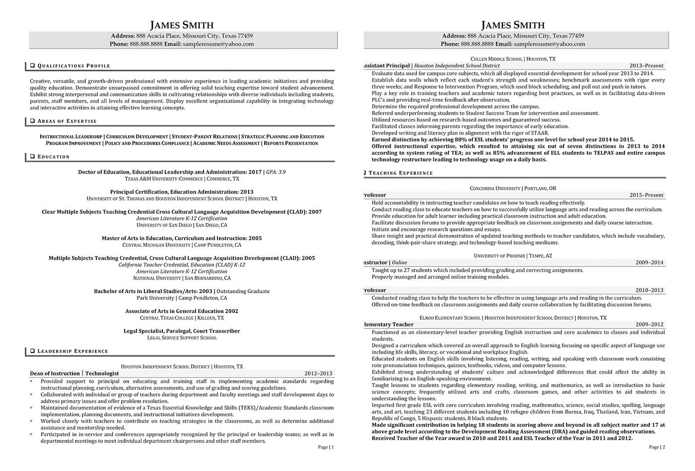 Principal Resume  Sample Principal Resume