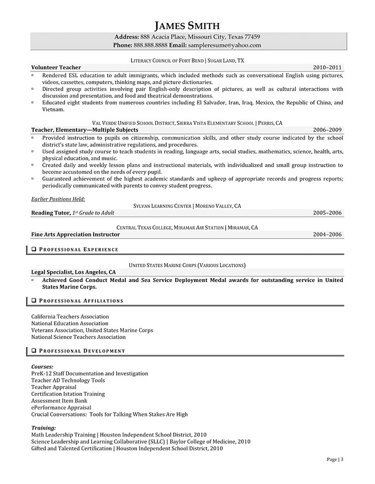 Best Ideas of Sample Of Professional Resume With Experience With Description