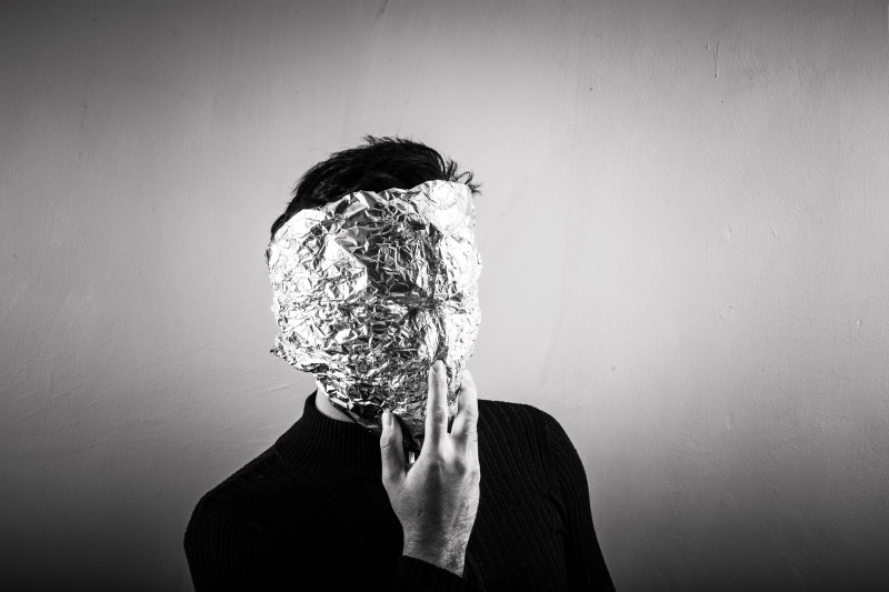 Image of a Man with His Face Covered with Foil