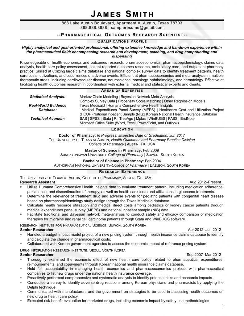 Curriculum Vitae for Research Scientist 1
