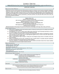 Assistant Curator Sample Resume
