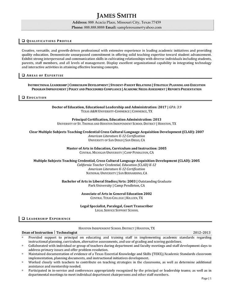 principal sample resume