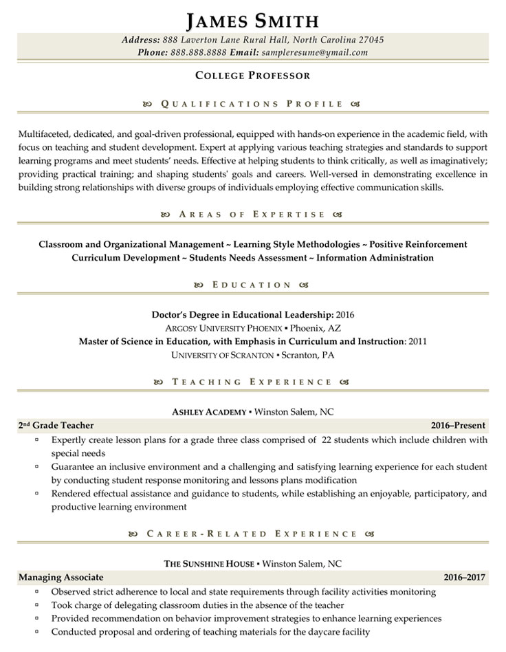 College Professor Sample Resume