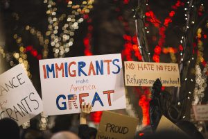 Trump Immigration Policy posters in a protest