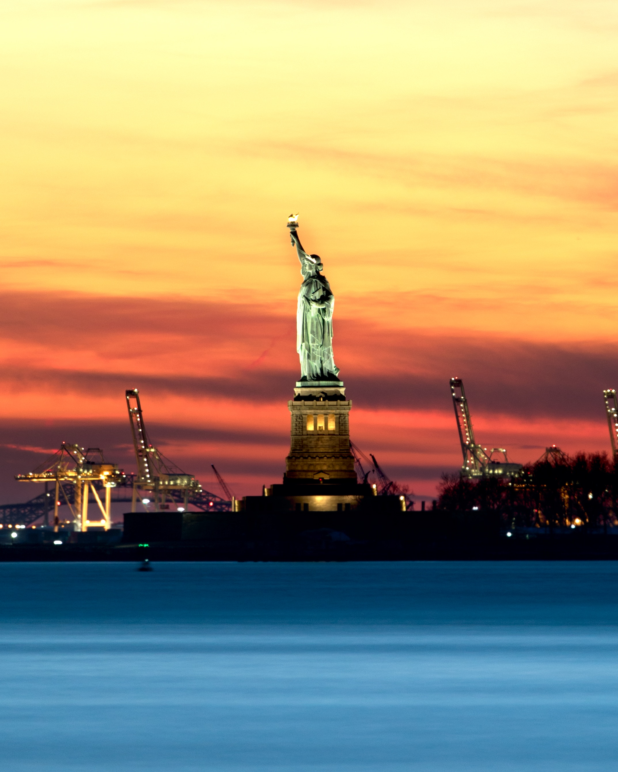 election jobs portrait of the Statue of Liberty in sunset