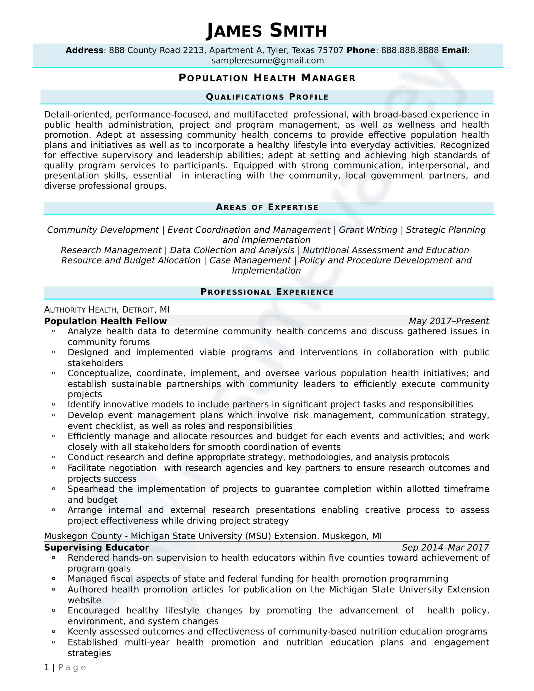 Population Health Manager_Civilian Resume