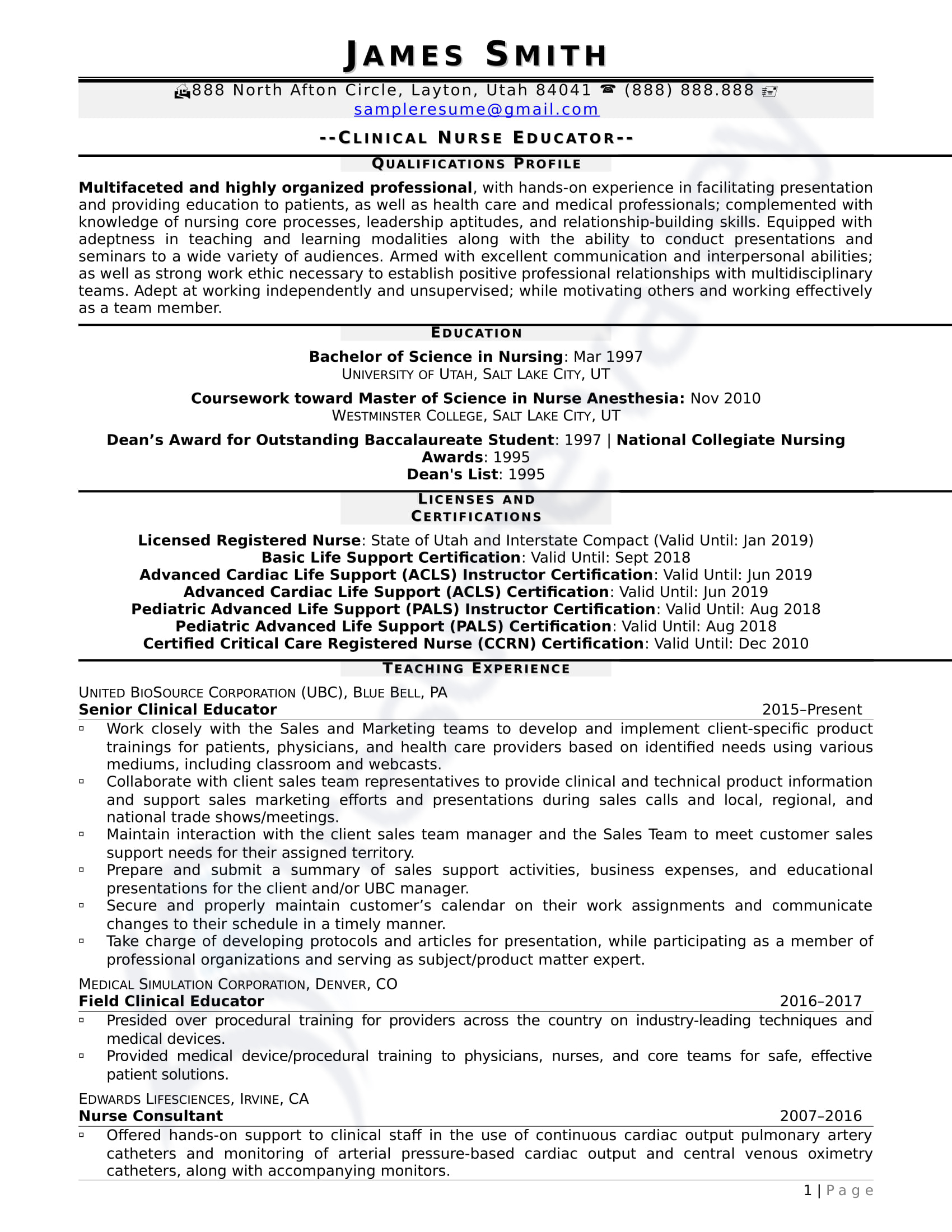 Clinical Nurse Educator_Curriculum Vitae