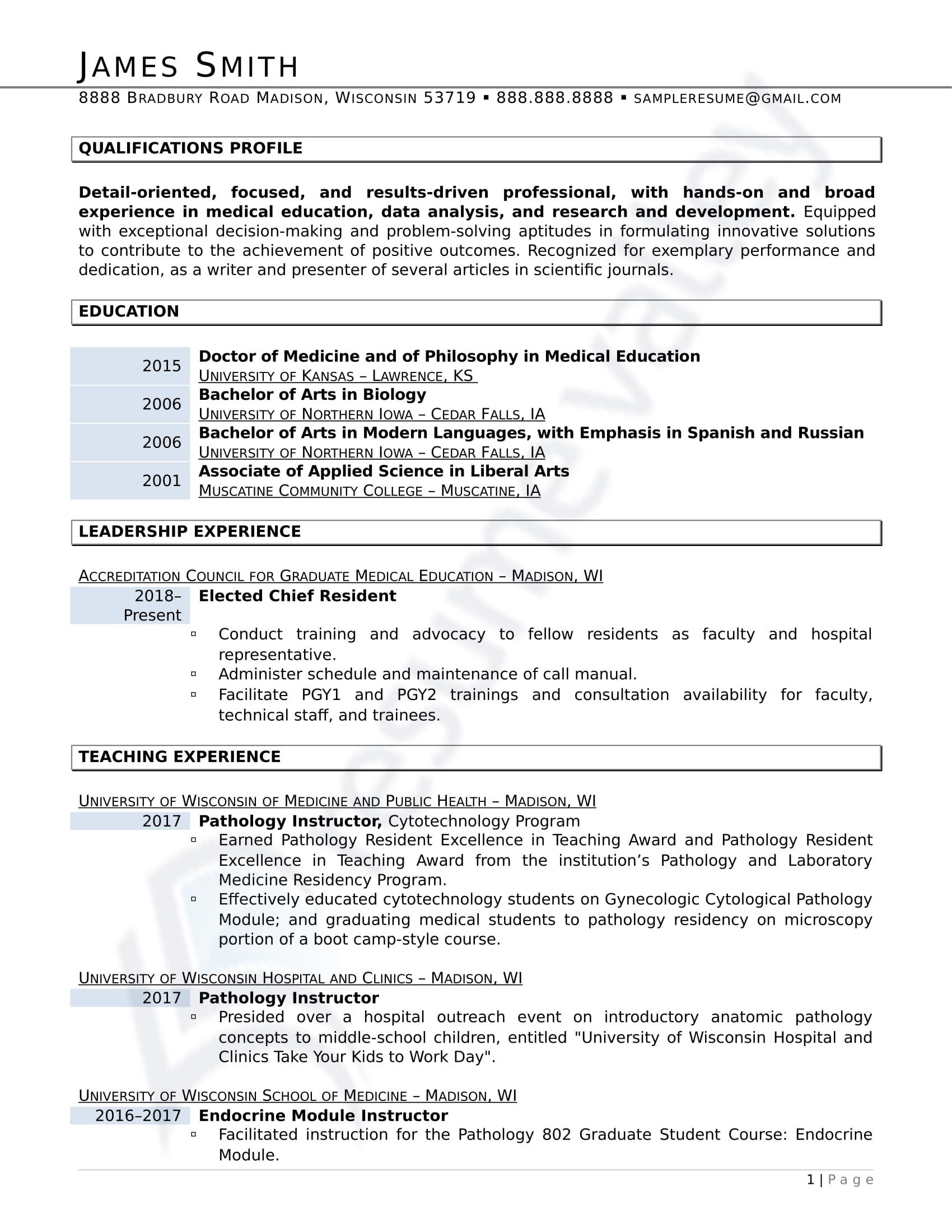 Doctor of Medicine_Curriculum Vitae