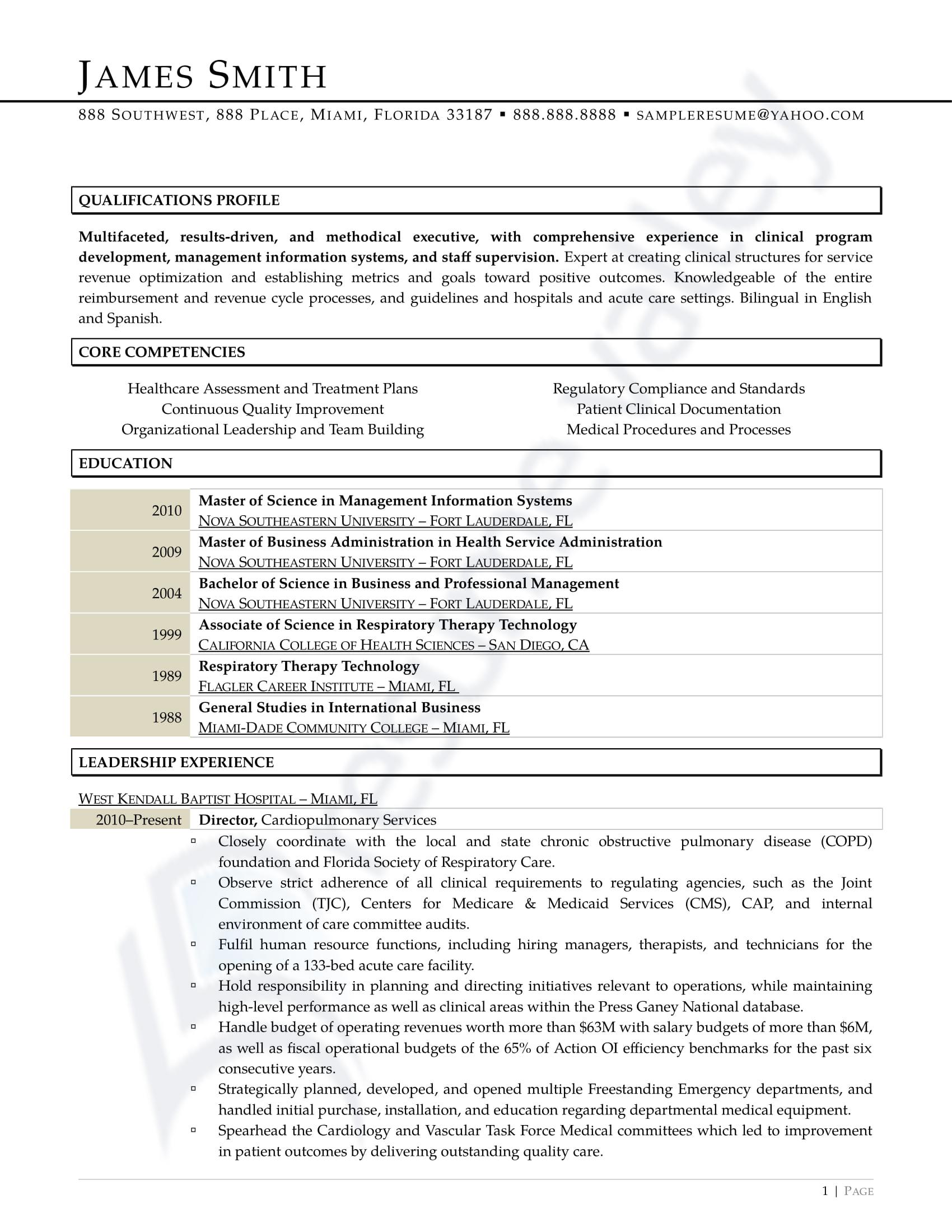 Healthcare Director_Curriculum Vitae