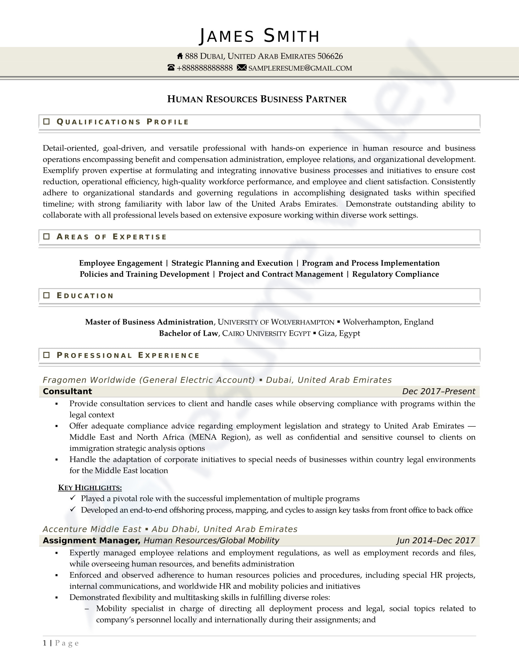 Hr Business Partner_Curriculum Vitae