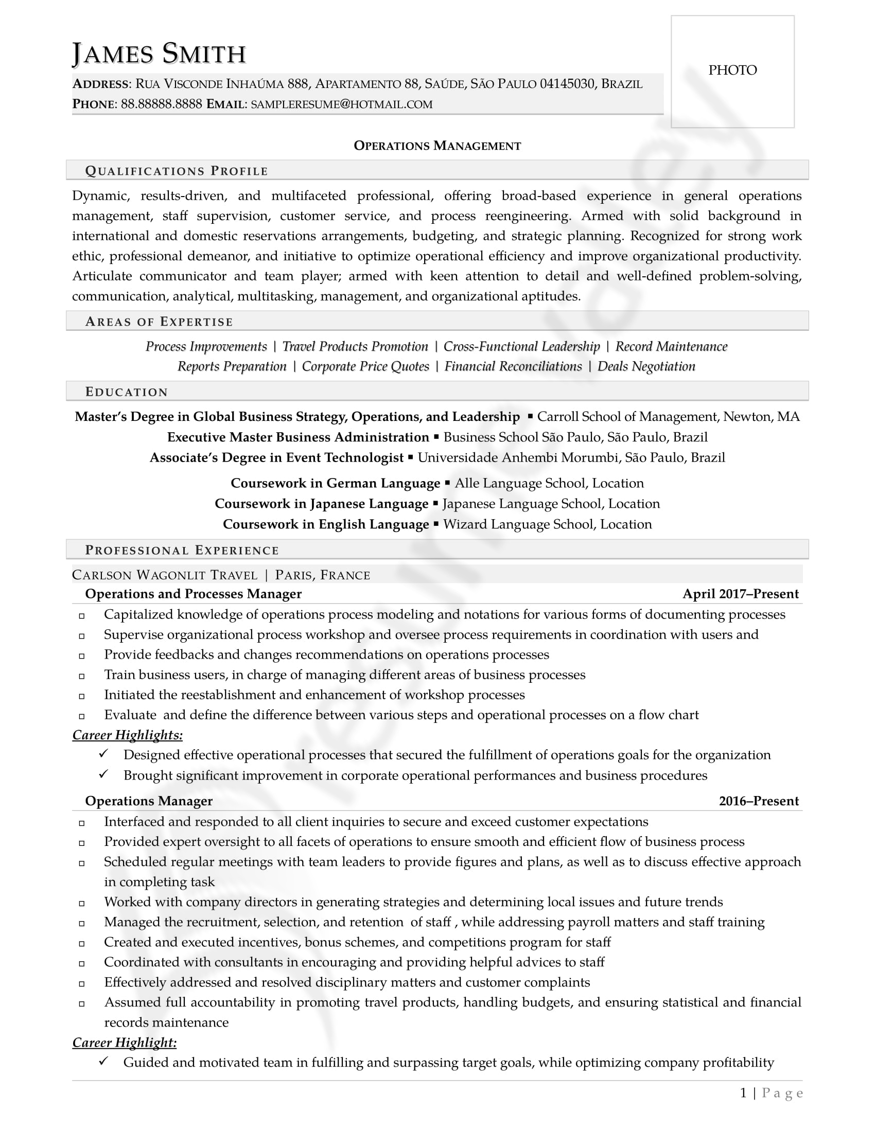 Operations Manager_Curriculum Vitae