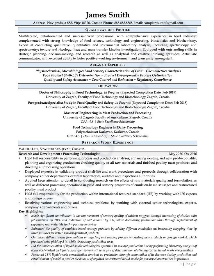 Processing Technologist_Curriculum Vitae