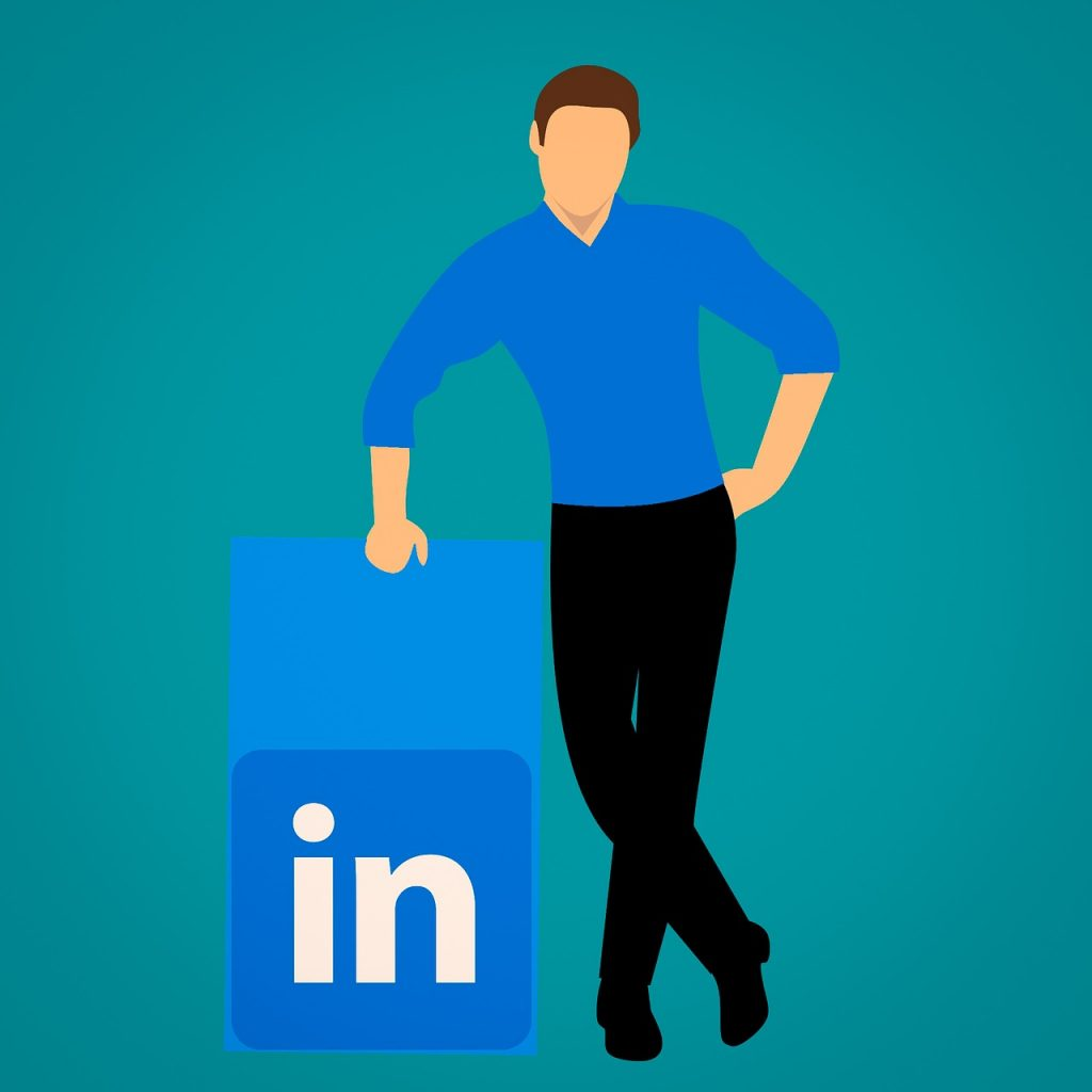 vectored man with LinkedIn icon - certified resume writers