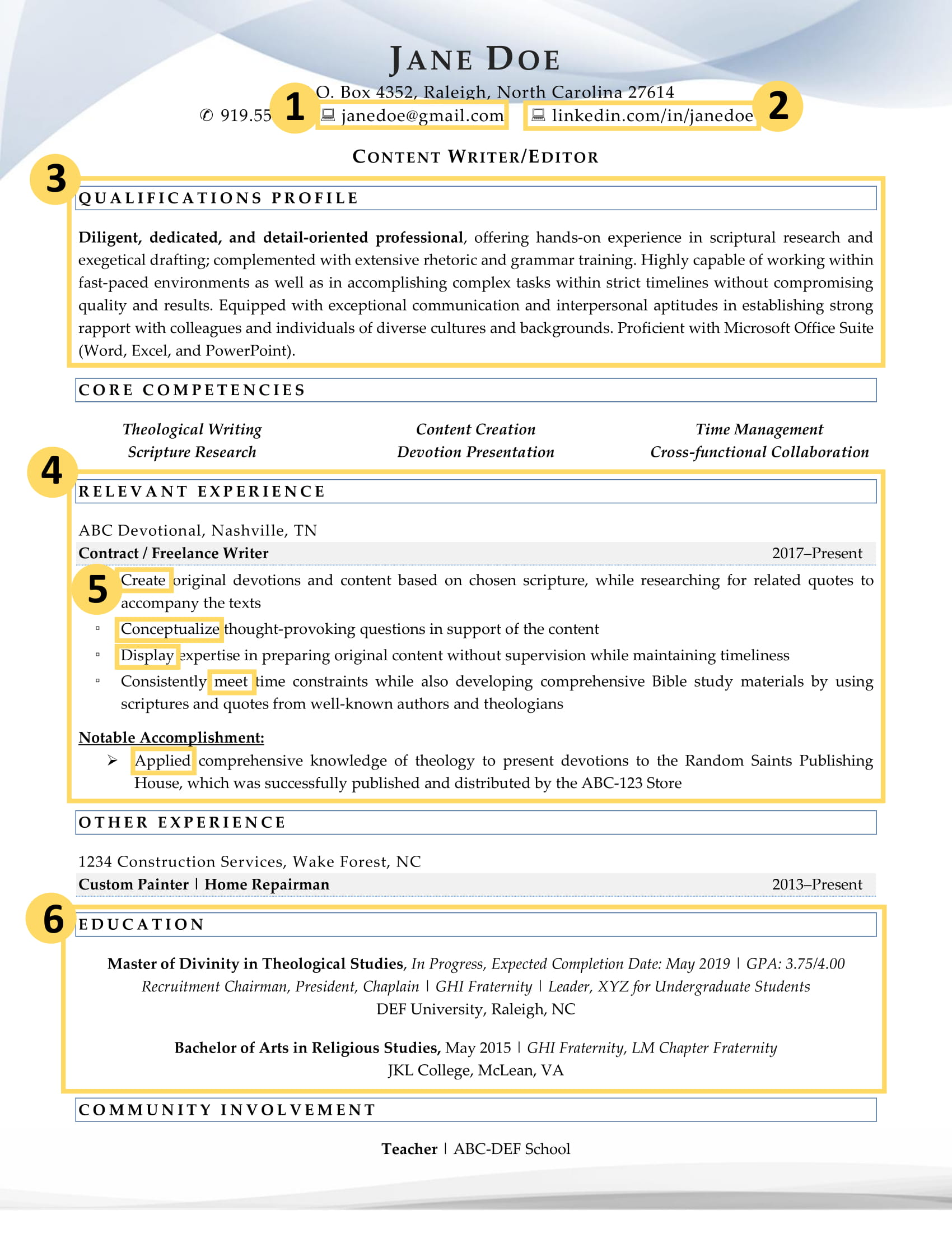 This recent graduate resume example highlights the specific parts which makes it effective.