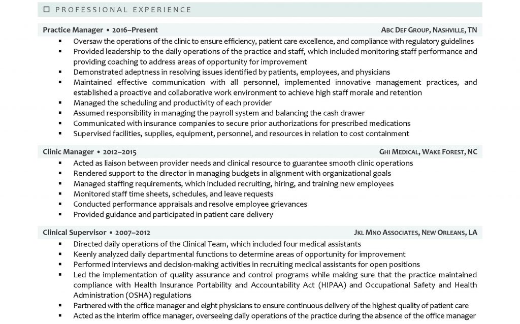 Professional experience section