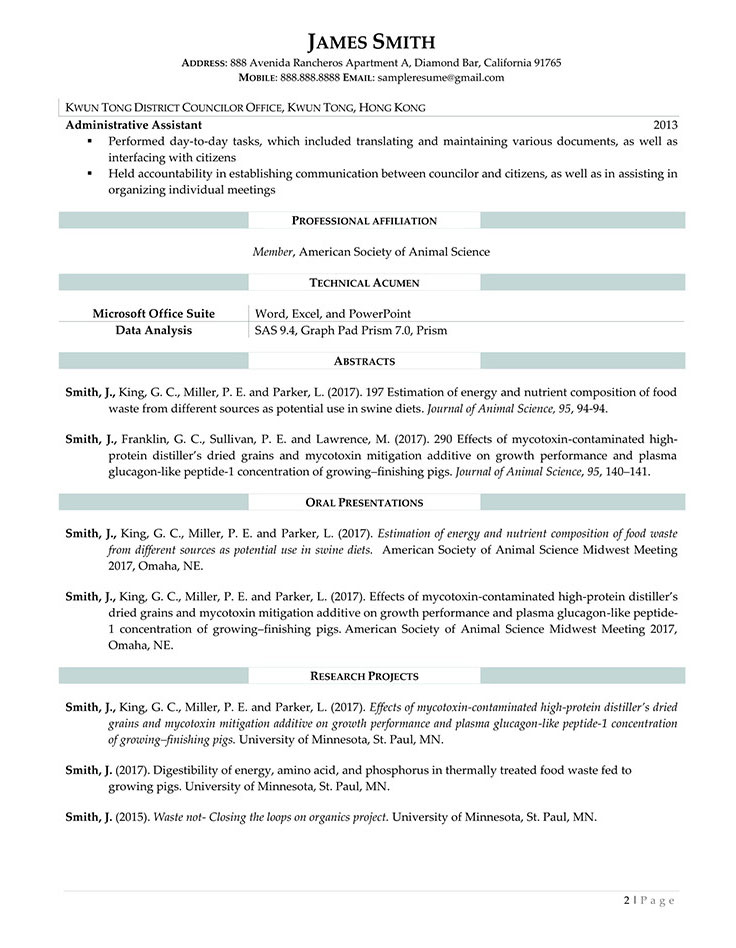 Medical resume sample for research assistant page 1