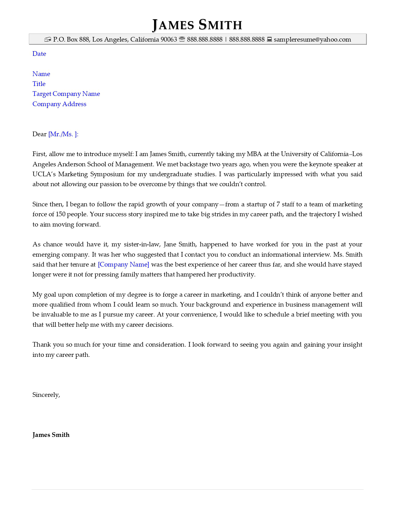 Networking letter sample from Resume Valley