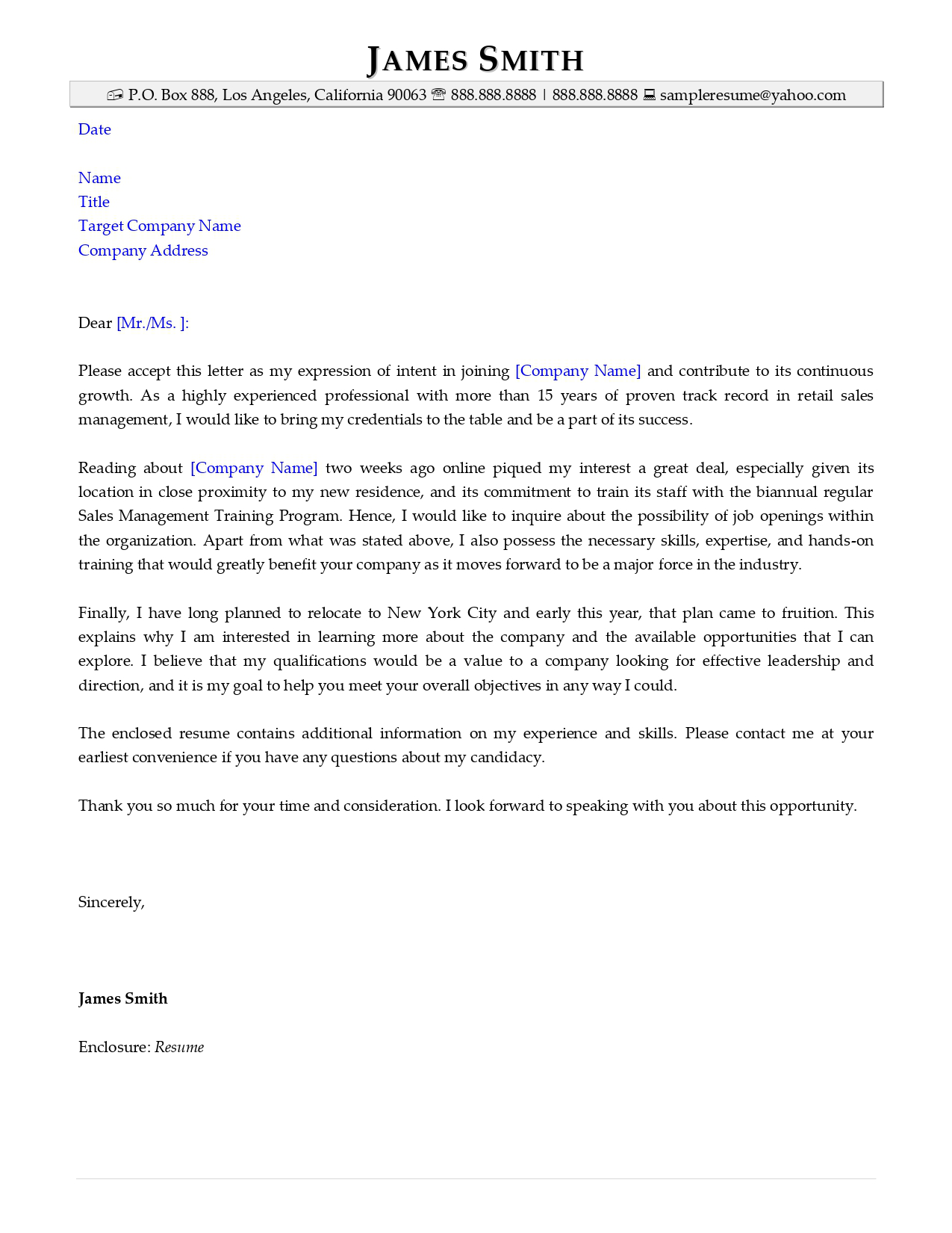 Prospecting resume cover letter example from Resume Valley