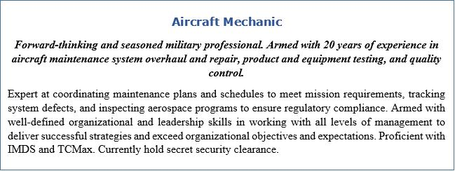 Resume Headline and Resume Profile for Aircraft Mechanic