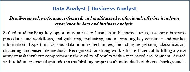 Resume Headline and Resume Profile for Data Analyst | Business Analyst
