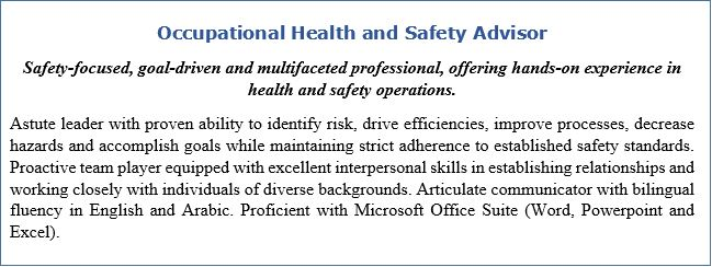 Resume Headline and Resume Profile for Occupational Health and Safety Advisor