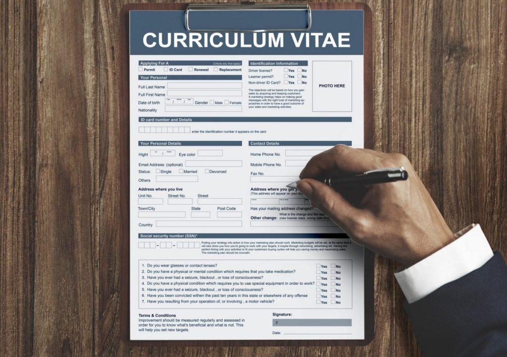 CV vs Resume: Picture of a CV