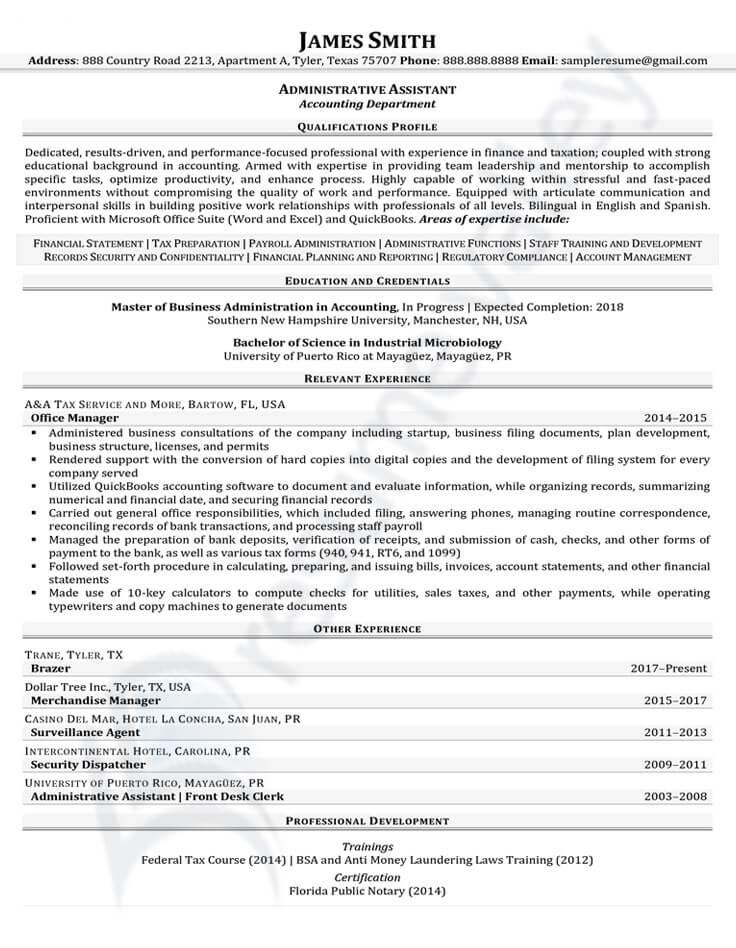 Civilian Resume - Administrative Assistant