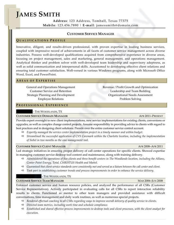 Civilian Resume - Customer Service Manager