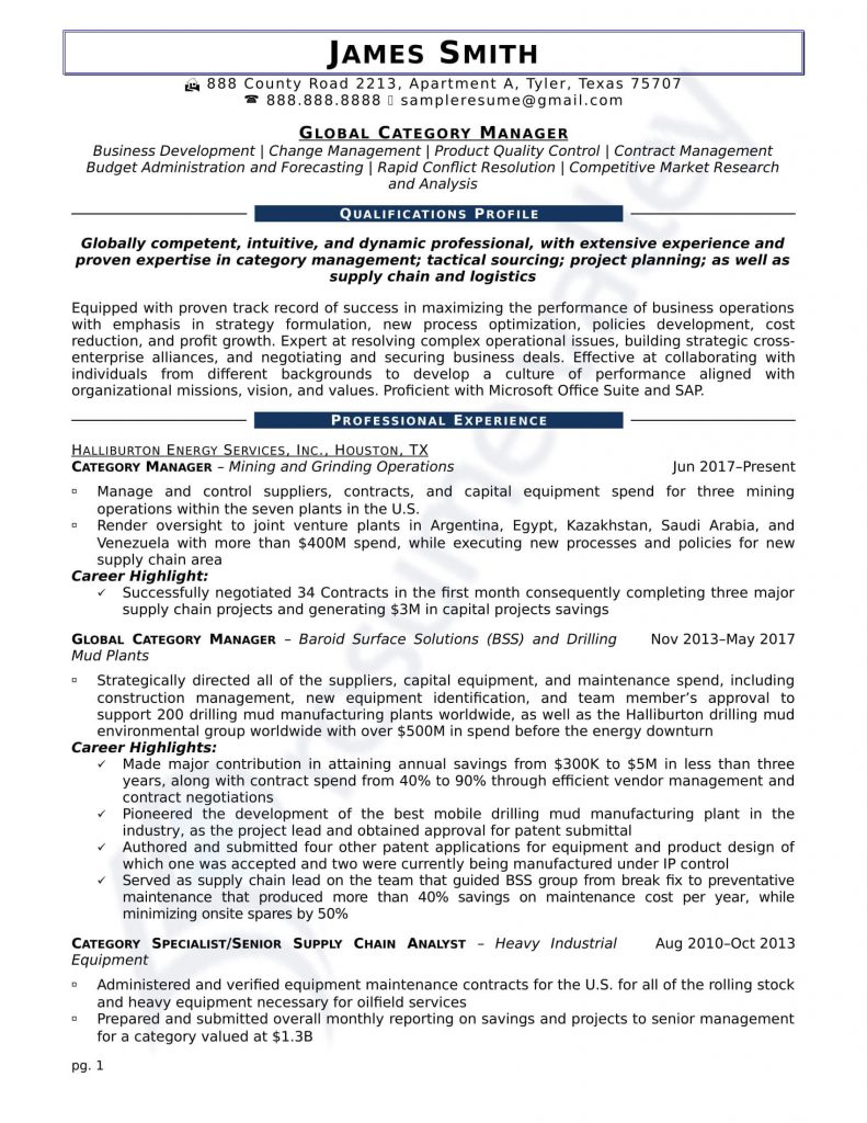 Civilian Resume - Global Category Manager
