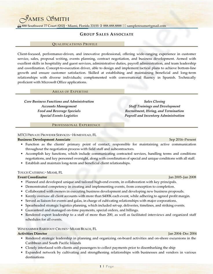 Civilian Resume - Group Sales Associate