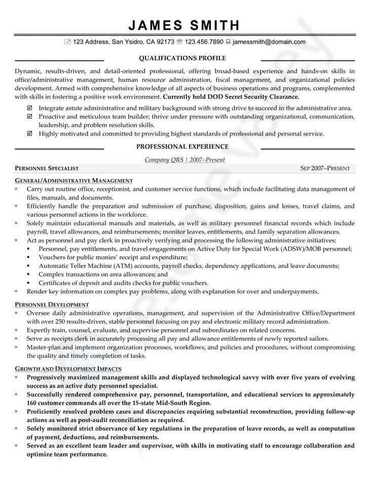 Civilian Resume - Human Resource Generalist