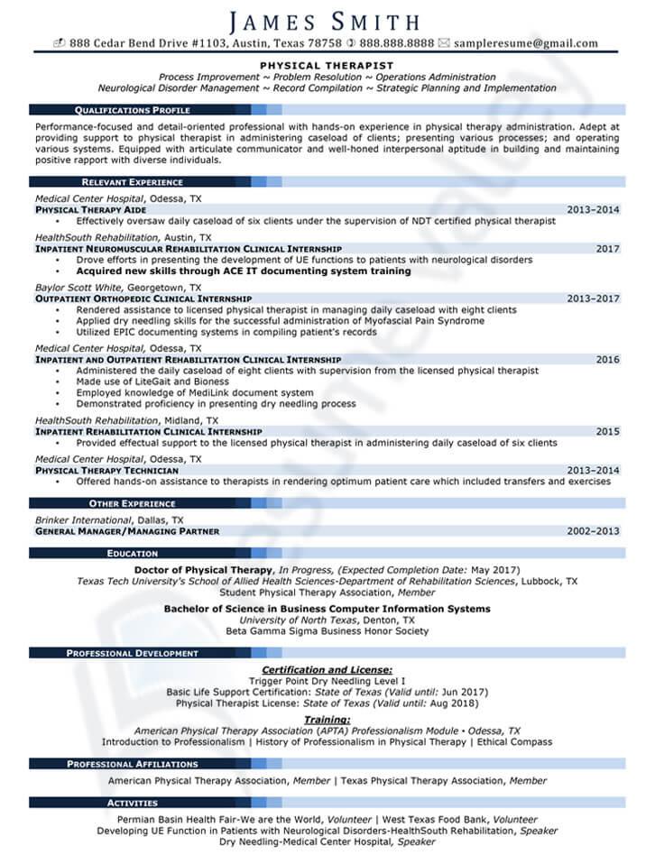 Civilian Resume - Physical Therapist