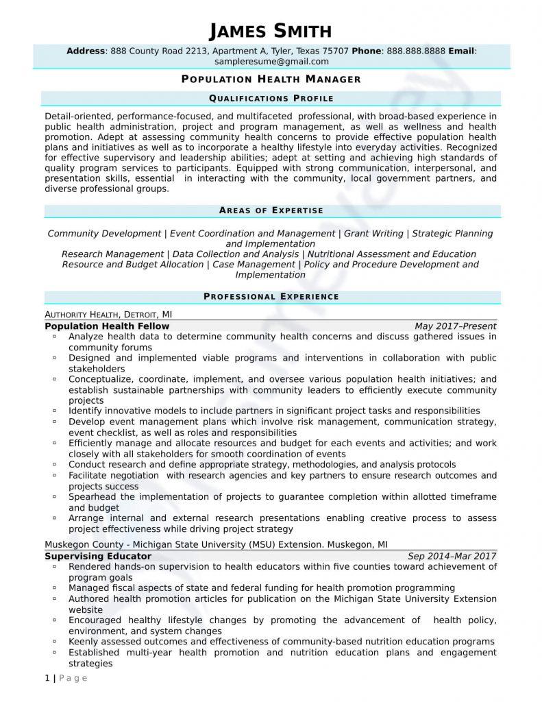 Civilian Resume - Population Health Manager
