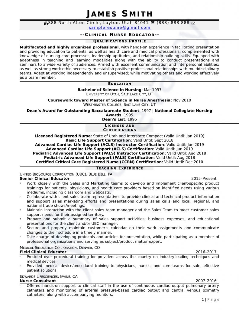 Curriculum Vitae - Clinical Nurse Educator