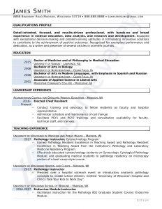 Curriculum Vitae - Doctor of Medicine