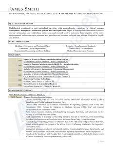 Curriculum Vitae - Healthcare Director