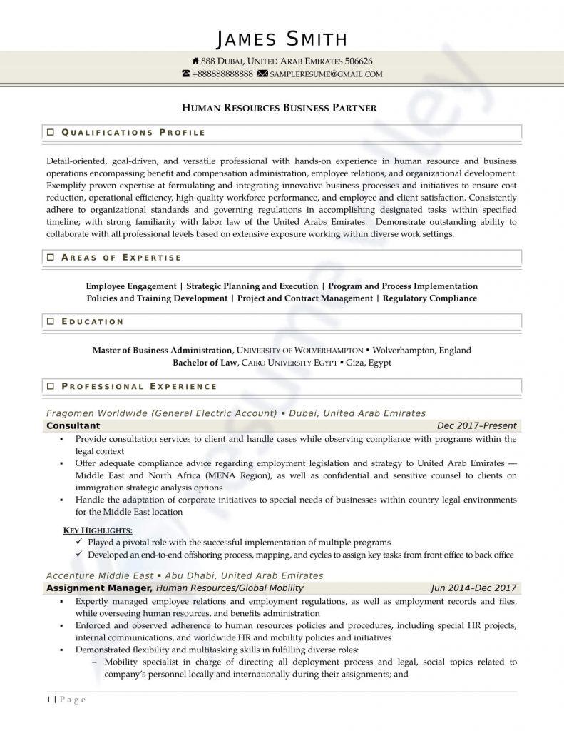 Curriculum Vitae - Human Resource Business (Overseas)
