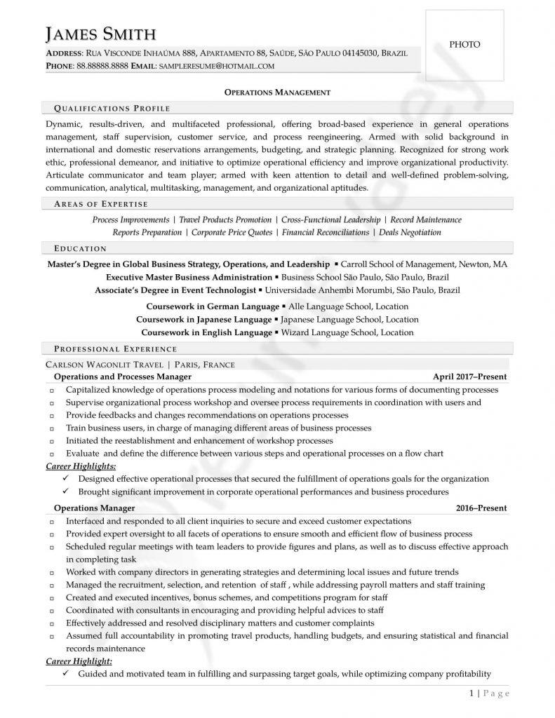 Curriculum Vitae - Operations Manager (Overseas)