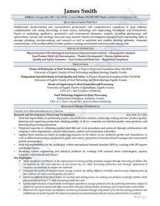 Curriculum Vitae - Processing Technologist