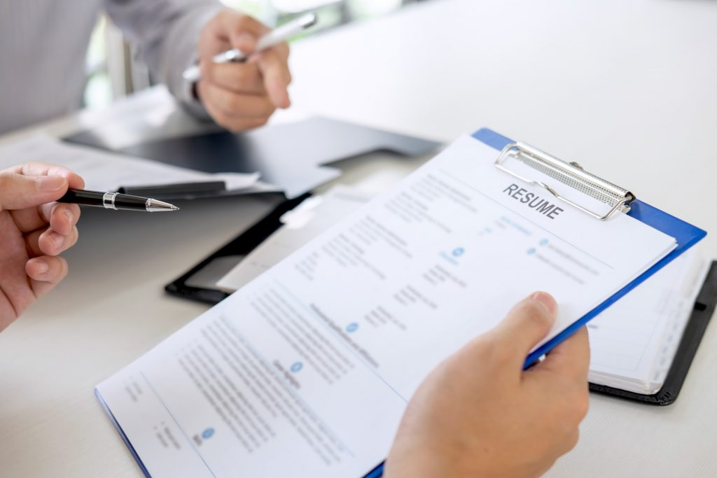 job interview between recruiter and applicant